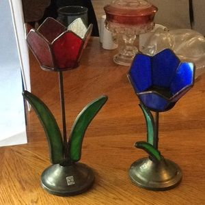 Pair of pretty stained glass and metal votives